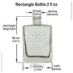 2 Oz 60 ML Refillable Perfume Oil Rectangular Glass Bottles With Black Caps