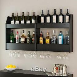 2 Shelves Wood Floating Wine Liquor Rack Bottle Glass Holder Wall Mount Display
