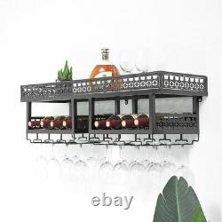 2-Tier Wall Mounted Wine Bottle Wood Shelf Organizer, Stemware Glass Holder Rack