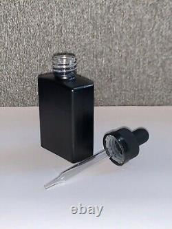 324 count 1oz / 30ml Black Frosted Glass Square Bottles with Droppers (case)