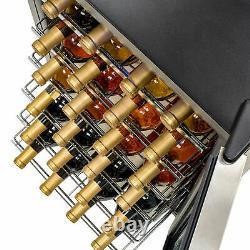 35 Bottles Wine Cooler Compressor Fridge Chiller Cellar withMetal Shelf Glass Door