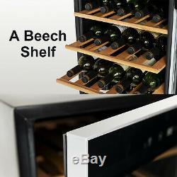 35 Bottles Wine Cooler Compressor Fridge Chiller Cellar with Wood Shelf Glass Door