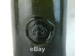 38577 Old Antique Freeblown Black Glass Wine Bottle Pontil Sealed Seal Mallet