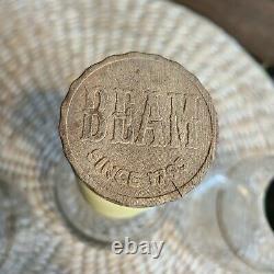 (3) Jim Beam Bonded Pyrex Glass Whiskey Bottle 1950s Bourbon Gold Red Black