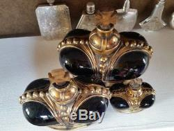 3 Prince Matchabelli CrossTop Black Glass Crown Perfume Bottles