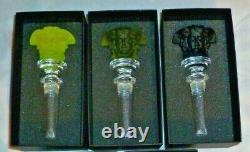 3 Rosenthal Versace Glass Bottle Stoppers Brand New In Boxes Black Yellow Green