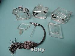 3p Antique Art Deco cut Crystal perfume scent glass vanity box set bottle Palda
