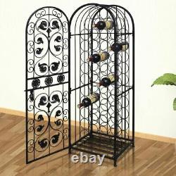 45 Bottle Wine Storage Rack Floor Display Cabinet Glass Metal Bar Tabletop Stand