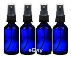 4 NEW 4 oz. Cobalt Blue Boston Round GLASS Spray Bottle with Black sprayers