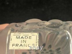 5.25 Medium Lalique France Crystal Dahlia Perfume Bottle Black Enamel Excellent