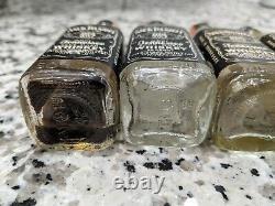 5 Vintage Jack Daniels Mini Glass Bottles Whiskey Shots Antique Lem Motlow Tenn