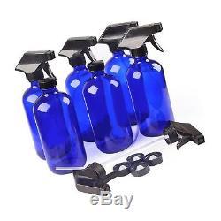 6 Blue Glass Spray Bottle Bottles with Black Trigger Sprayer. 16 oz Refillable