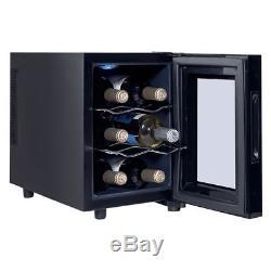 6 Bottle Small Black Electric Wine Sake Rack Bar Cooler Refrigerator Glass Door