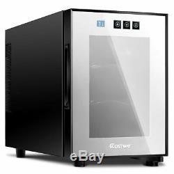 6 Bottle Thermoelectric Wine Cooler Freestanding Temperature Display Glass Door