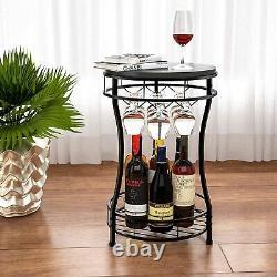 7 Bottle 3 Glass Holder Metal Wine Rack Wine Storage Shelves Wine Display Black