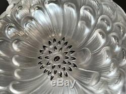 7 Tall Lalique France Dahlia Perfume Bottle Black Enamel Dots Signed Excellent