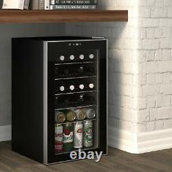 85 Cans or 25 Bottles Beverage Refrigerator Wine Cooler with Glass Door