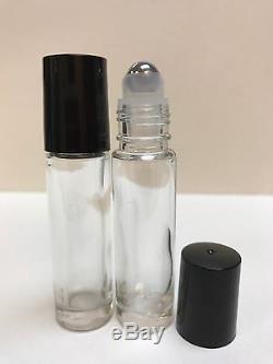 864 Pcs Case 10ml PLAIN 1/3 oz Glass Rollon Bottle WithBLACK Cap & Steel Roller