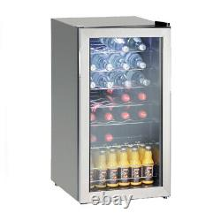 88L Compressor Wine Beverage Cooler Glass Door Undercounter 28 Bottles Fridge