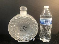 8.25 XL Lalique France Crystal Dahlia Perfume Bottle Black Enamel Excellent