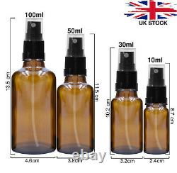 AMBER Glass Spray Bottles with BLACK ATOMISER / Mist Spray Refillable 10 100ml