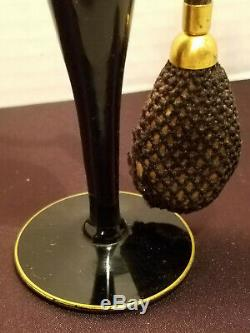 ANTIQUE 1920s ERA DEVILBISS PERFUME ATOMIZER BLACK GLASS BOTTLE SIGNED