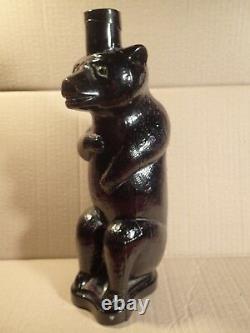 ANTIQUE 19 cen Imperial Russia Russian VODKA BEER BOTTLE FLASK BLACK GLASS BEAR