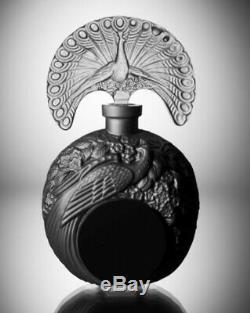 ART DECO Crystal Glass Black Czech Bohemian Perfume Bottle Hand Cut Peacock
