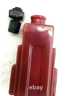 ART DECO DUSKA RED & BLACK GLASS FLACON-Perfume Bottle-SKYSCRAPER SHAPE 1928