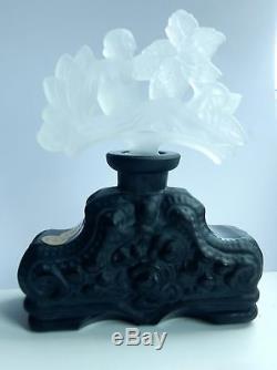 ART DECO Glass Flacon Crystal Czech Bohemian Perfume Bottle Hand Cut
