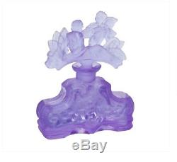 ART DECO Glass Flacon Crystal Czech Bohemian Perfume Bottle Hand Cut Violet