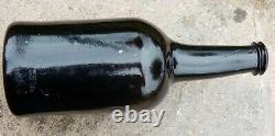 ASCR Oxford university 1780 black glass sagged base sealed cylinder wine bottle