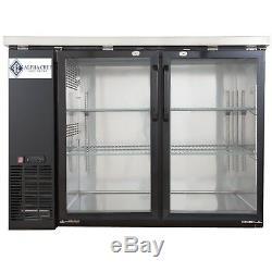 A. C. E. BackBar Bottle Cooler Double Glass Door Stainless-Steel Interior 12 Cu. Ft