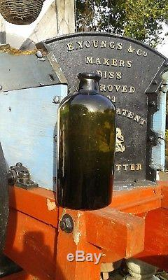 A Lovely Large BLack Glass Free Blown English Cylindrical Chemist Bottle