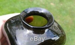 A Nice Early Pontil Black Glass Snuff Jar-Bottle Crudely Made C1830