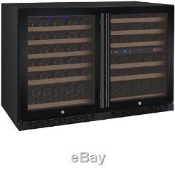 Allavino 112 Bottle Built-In Three-Zone Wine Refrigerator Black Glass Doors
