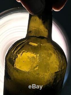 Antique 1800's Bristol Ricketts Black glass/ olive 7 5/8 pontil 3 pc mold