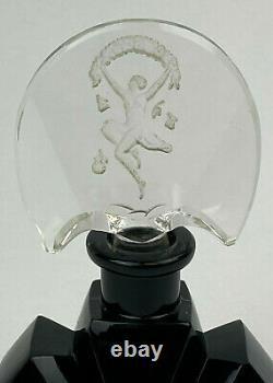 Antique ART DECO INTAGLIO Black Glass Perfume Bottle Lady Dancing CZECH