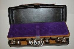 Antique Apothecary 18 Glass Bottle Dr.'s Medicine Black Leather Travel Case