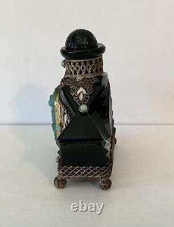 Antique Art Deco Bohemian Czech Black Opaline Ormolu Glass Perfume Bottle