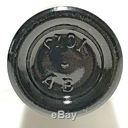 Antique Black Glass Bottle Early 3 Piece Mold Hand Blown Applied Tapered Lip