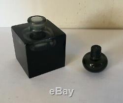 Antique Black Glass Crystal Perfume Bottle Square Shape Art Deco Baccarat