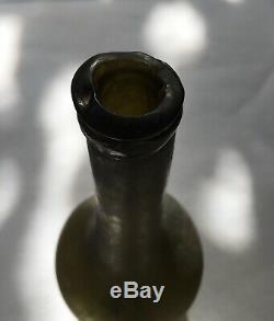 Antique Black Glass Long Neck Wine Bottle 1750-1770 Open Pontil Rare Form