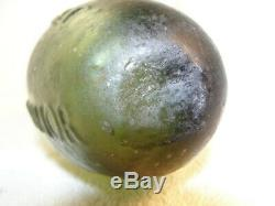 Antique Black Glass RARE CLASSIC PONTILLED 1830 GREEN SCHWEPPES HAMILTON