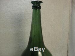 Antique Black Glass Rare German Lau Lau Bottle circa 1740
