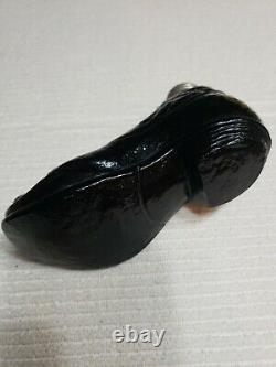 Antique Black Glass Shoe Flask 1800s Rare