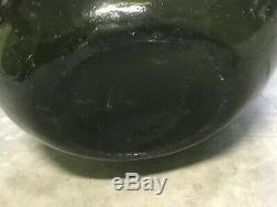 Antique Black Glass Wine Bottle 17th Century Dutch English Onion Pirates Bottle