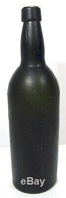 Antique C W & Co Black Glass Wine Bottle 3 Part Mold 28.5 cm / 11¼