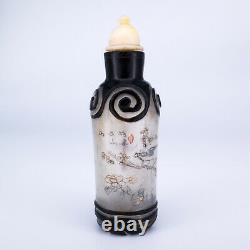 Antique Chinese Inside Reverse Painted Peking Glass Black Overlay Snuff Bottle