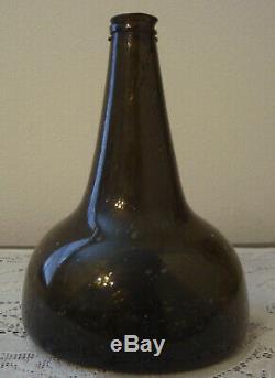 Antique Circa 1680-1720 Dutch Black Glass Onion Pontil Wine Bottle